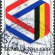 LUXEMBOURG - CIRCA 1969: A stamp printed in Luxembourg, is dedicated to the 25th anniversary of the signing of the customs union of Belgium, Netherlands and Luxembourg - Stock Photo