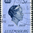 LUXEMBOURG - CIRCA 1959: A stamp printed in Luxembourg, is dedicated to the 40th anniversary of accession to the throne, shows Charlotte, Grand Duchess of Luxembourg — Stock Photo