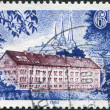 LUXEMBOURG - CIRCA 1980: A stamp printed in Luxembourg, shows State Archives Building, circa 1980 - Stock Photo