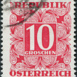 Stock Photo: AUSTRI- CIRC1949: stamp printed in Austria, shows numbers, face value stamps, circ1949