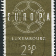 LUXEMBOURG - CIRCA 1959: A stamp printed in Luxembourg, shows 6-Link Enless Chain, and the word EUROPE, circa 1959 — Photo