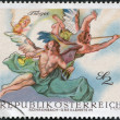 Stock Photo: AUSTRI- CIRC1968: stamp printed in Austria, is shown Angels, from Last Judgment by Troger (Rohrenbach-Greillenstein Chapel), circ1968