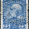 图库照片: AUSTRI- CIRC1910: stamp printed in Austria, is dedicated to his 80th birthday Franz Joseph I, circ1910