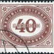 Stock Photo: AUSTRI- CIRC1947: stamp printed in Austria, shows numbers, face value stamps, circ1947