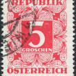 AUSTRIA - CIRCA 1949: A stamp printed in Austria, shows the numbers, face value stamps, circa 1949 — Stock Photo