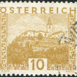 Stock Photo: AUSTRIA - CIRCA 1929: A stamp printed in Austria, is shown Burg Gussing, Burgenland, circa 1929