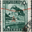 Stock Photo: AUSTRI- CIRC1945: stamp printed in Austria, is shown Hochosterwitz Castle (Burg Hochosterwitz), circ1945