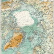 "North Pole. Map of the ocean, islands and land around it. Publication of the book ""Meyers Konversations-Lexikon"", Volume 7, Leipzig, Germany, 1910 — Foto Stock"