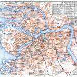 "GERMANY - CIRCA 1910: Map of St. Petersburg. Publication of the book ""Meyers Konversations-Lexikon"", Volume 7, Leipzig, Germany, circa 1910 — Stock Photo #12087058"