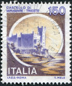 A stamp printed in Italy, shows the Miramare Castle, circa 1980 — Stock Photo