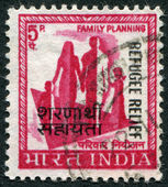 A stamp printed in India, shows a symbol of family planning campaign (overprint in 1971, to help refugees from East Pakistan), circa 1967 — Stock Photo