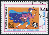 A stamp printed in the Afghanistan devoted to 19th UPU Congress, Hamburg. Shows a German postman 17th century, circa 1984 — Stock Photo