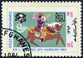 A stamp printed in the Afghanistan devoted to 19th UPU Congress, Hamburg. Postrider depicted 16th century, circa 1984 — Stock Photo