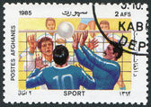 A stamp printed in the Afghanistan shows Volleyball, circa 1985 — Stock Photo