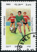 A stamp printed in the Afghanistan shows a football, circa 1985 — Foto de Stock