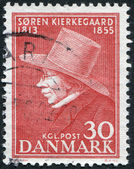 A stamp printed in the Denmark, dedicated to the 100th anniversary of the death of Soren Aabye Kierkegaard, circa 1955 — Stockfoto