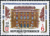 AUSTRIA - CIRCA 1989: A stamp printed in Austria, devoted to the 14 th Congress of International Society for Criminal Law, shows the Palace of Justice, Vienna, circa — Stock Photo