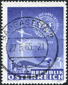 A stamp printed in Austria, shows the ITU Emblem, Telegraph Key and TV Antenna, circa 1965 — Stock Photo