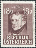 A stamp printed in Austria, shows a portrait of Franz Seraphicus Grillparzer by Josef Kriehuber, poet and dramatist, circa 1947 — Stock Photo
