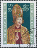 A stamp printed in Austria, shows the High Priest, by Michael Pacher, circa 1975 — Stock Photo