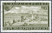 штамп напечатан в австрии, показывает аттерзее, верхняя австрия, около 1977 — Стоковое фото