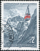 A stamp printed in Austria, devoted to the 4th International Congress Funicular, Vienna, shows Gosaukamm Funicular, circa 1975 — Stock Photo