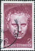 A stamp printed in Austria, is dedicated to the 100th anniversary of Max Reinhardt, Theatrical Director, circa 1973 — Stock Photo