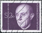 A stamp printed in Austria, is depicted Arnold Schonberg, composer, circa 1974 — Foto Stock