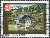 A stamp printed in Austria, is shown Ebene Reichenau Post Office, circa 1990 — Stock Photo