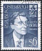 A stamp printed in Austria, is dedicated to the 100th anniversary of Alban Berg, composer, circa 1985 — Stock Photo