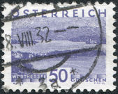 A stamp printed in Austria, shows Woerthersee, circa 1932 — Stock Photo