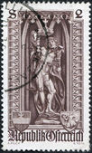 A stamp printed in the Austrian, is dedicated to 500th anniversary of Diocese of Vienna, depicts the statue of St. Sebastian in St. Stephen's — Stock Photo