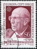 A stamp printed in the Austrian, portrayed Robert Stolz, Composer, circa 1980 — Stock Photo