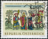 """AUSTRIA - CIRCA 1966: A stamp printed in Austria, from the collection of Austrian National Library, shows the Theater Collection: """"Eunuchus"""" by Terence from a 1496 — Stock Photo"""