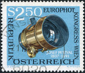 A stamp printed in Austria, is dedicated to EUROPHOT Photographic Congress, Vienna, shows Josef Petzval's Photographic Lens, circa 1973 — Stock Photo