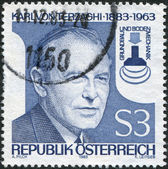A stamp printed in Austria, shows Karl von Terzaghi, Founder of Scientific Subterranean Engineering, circa 1983 — Stock Photo