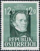 A stamp printed in Austria, is dedicated to the 150th anniversary of Franz Peter Schubert, circa 1947 — Stock Photo