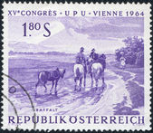 "A stamp printed in Austria, shows a picture of ""After the Rain"", by Ignaz Raffalt, circa 1964 — Stock Photo"