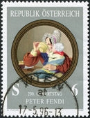 "A stamp printed in Austria, shows a picture of ""Mother with Child"", by Peter Fendi, circa 1996 — Foto de Stock"