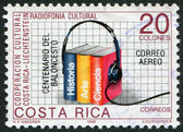A stamp printed in the Costa Rica, dedicated to Cultural cooperation with Liechtenstein, Cultural radio programs — Stock Photo