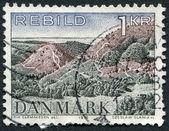 Un sello impreso en la dinamarca, muestra el parque nacional rebild, alrededor de 1972 — Foto de Stock