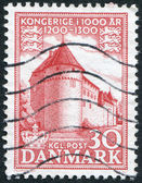 A stamp printed in the Denmark, shows Castle Nyborg, circa 1954 — Stok fotoğraf