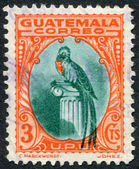 A stamp printed in the Guatemala, shows a national symbol, bird Resplendent Quetzal, circa 1935 — Stock Photo