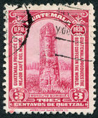 A stamp printed in the Guatemala, shows a Mayan Stele at Quirigua, circa 1932 — Stock Photo