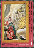 """A stamp printed in the Equatorial Guinea, shows a picture of El Greco """"The Annunciation"""", circa 1976 — Foto de Stock"""