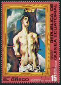 "A stamp printed in the Equatorial Guinea, shows a picture of El Greco ""San Sebastian"", circa 1976 — Stock Photo"