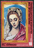"A stamp printed in the Equatorial Guinea, shows a picture of El Greco ""The Virgin of the Good Milk"", circa 1976 — Stock Photo"