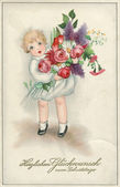 GERMANY - CIRCA 1929: Reproduction of an old postcard, shows a little girl with flowers, circa 1929. German text: I heartily congratulate you with Happy Birthday. — Stock Photo