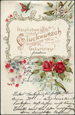 "German postcard greeting, ""Congratulations to Birthday!"" depicted floral designs, circa 1910 — Stock Photo"