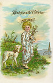 GERMANY - CIRCA 1916: Vintage postcard, congratulations with Easter, shows a boy with a sheep, circa 1916 — Stock Photo